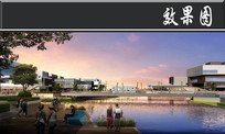 宁波文化广场河边景观效果图