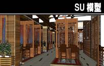 屏风元素餐厅内部SU模型