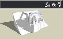 全白双层别墅模型 skp