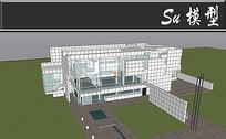 全白透明商业中心建筑模型 skp