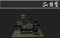 全黑色三角尖顶别墅建筑模型 skp