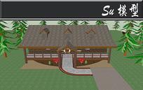 全木头创意小别墅模型 skp