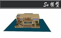 全木头三层别墅模型 skp