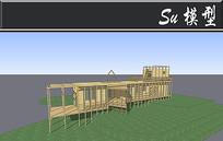 全木质创意别墅模型 skp