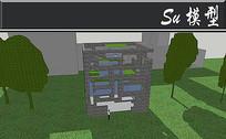 全石头镂空别墅模型 skp