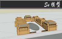 全棕色石头教堂模型 skp