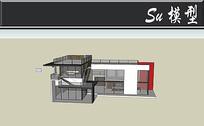 三层透明别墅模型 skp