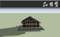 三角木屋小别墅模型 skp
