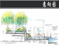 深圳某小区瀑布水景墙剖面图 JPG