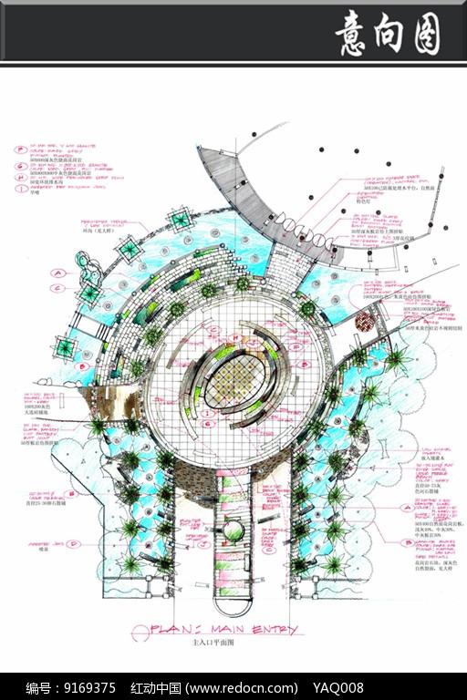 原创设计稿 方案意向 景观套图 深圳某小区主入口平面图  请您分享