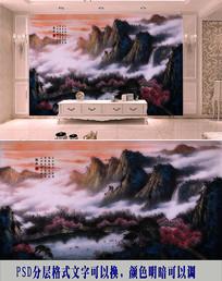 桃花水彩背景墙
