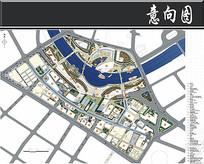 天津某梯形广场规划总平面图