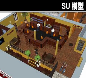 外国咖啡厅SU模型