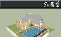 文化石墙砖别墅模型