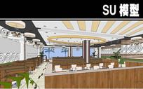 现代风餐厅内部SU模型 (2)