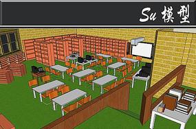 小型室内图书馆模型