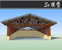 小型中式三角车库SU模型 skp