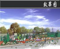 新疆某景区沙漠植物园效果图