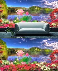 映山红装饰电视背景墙