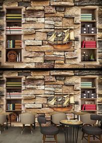 造型书柜书架工装背景墙