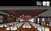 中式餐厅大厅SU模型