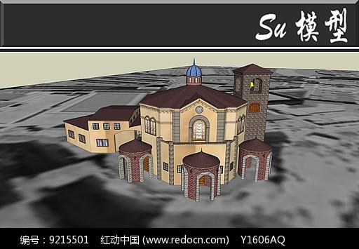 原创设计稿 3d模型库 建筑 紫色欧式圆顶别墅模型图片