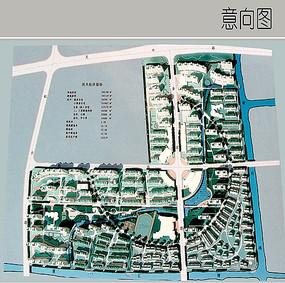 L型居住区景观彩平图