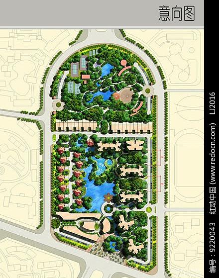 原创设计稿 方案意向 景观彩平 半弧形住宅区景观规划  请您分享: 红