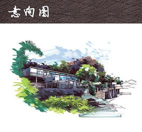 别墅建筑透视图