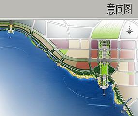 滨水景观彩平图