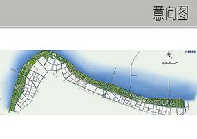 滨水绿地景观彩平图