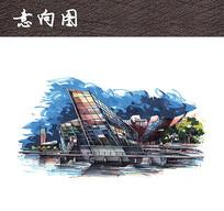 滨水商业广场夜景 JPG