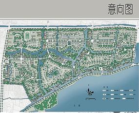 滨水住宅区景观彩平图