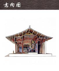 佛教建筑室内手绘