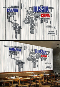 复古英文字母世界地图背景墙