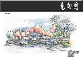 高尔夫别墅区入口区手绘图