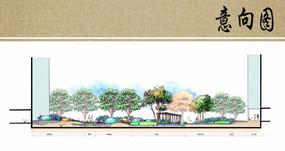 公园水景剖面图