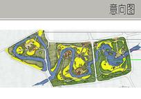 公园形态手绘平面