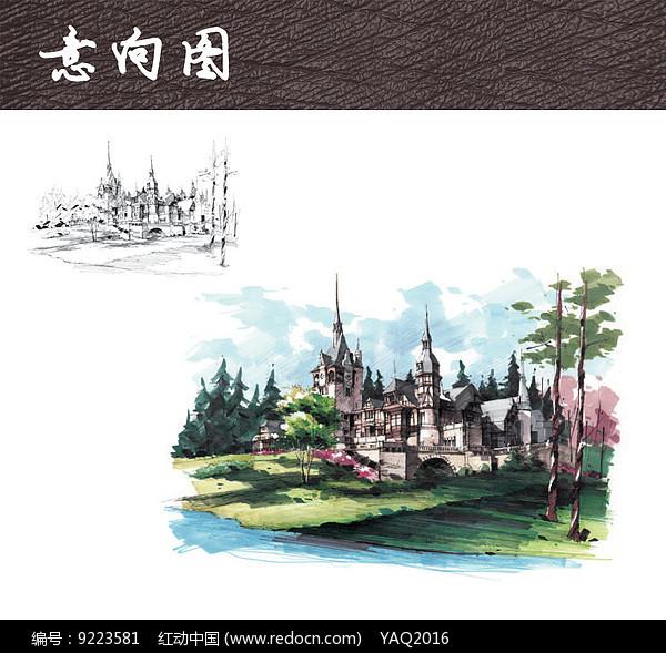 古堡建筑手绘