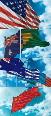 国旗视频创建制作ae模板