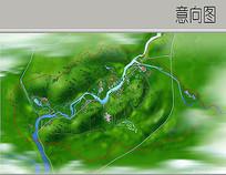 河道景观彩平鸟瞰图