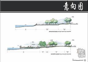 金鸡湖景观钓鱼景观台剖面