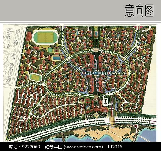原创设计稿 方案意向 景观彩平 居住区建筑景观平面图  请您分享: 红