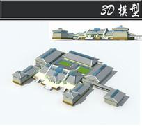 蓝白色中式古建3D模型
