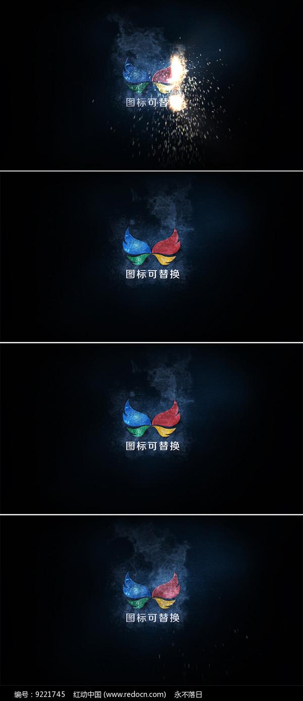 粒子火花logo演绎ae模板图片