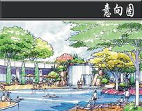 某方形小区景观泳池手绘图