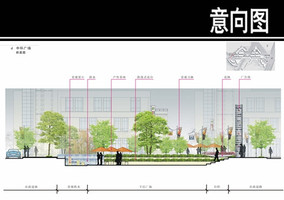 某香港城住宅中环广场剖面图