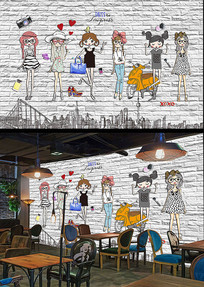 女孩插画工装电视沙发背景墙