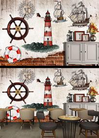 欧美插画航海帆船儿童房背景墙