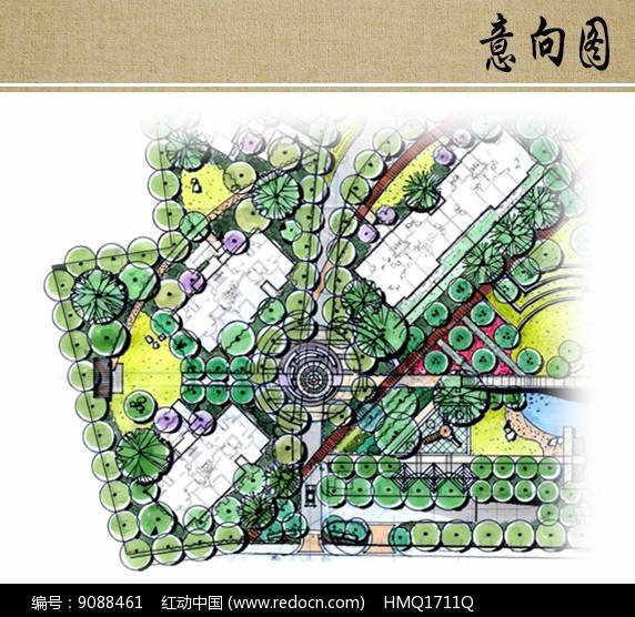 喷泉广场景观平面图